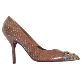 Louis Vuitton python embellished pumps