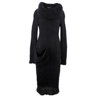 Alexander Mcqueen Black Knit Wool Blend Dress