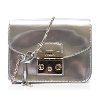 Furla Metropolis Silver Metallic Mini Cross-body Bag