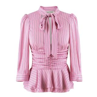 Balenciaga Pink Striped Pussybow Blouse