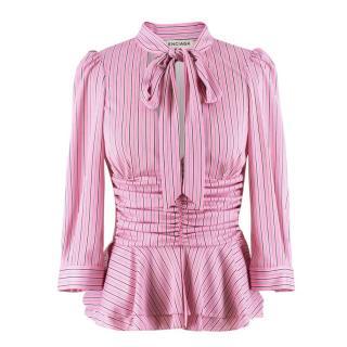 Balenciaga Pink Striped Pussybow Blouse