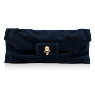 Alexander Mcqueen Blue Velvet Clutch Bag