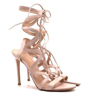 Gianvito Rossi Nude Lace-up Sandal Heels