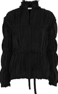 J. W Anderson Frayed Ruched Crepe De Chine Jacket