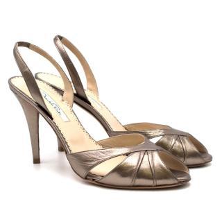 Oscar De La Renta Silver Peep Toe Slingback Sandals