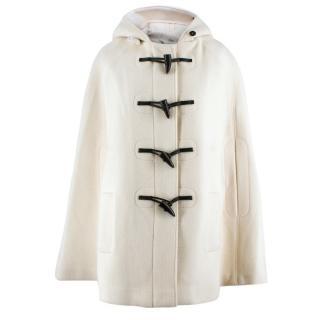 Burberry Cream Wool Hooded Cape Coat