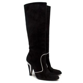 Dolce & Gabbana Black & Silver Suede Boots