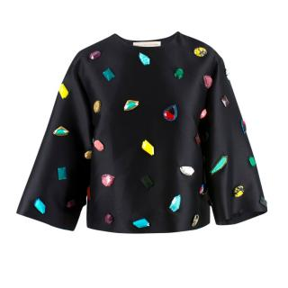 Stella McCartney Crystal Embellished Black Top