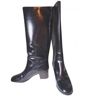 Chanel Black Leather Knee High Boots