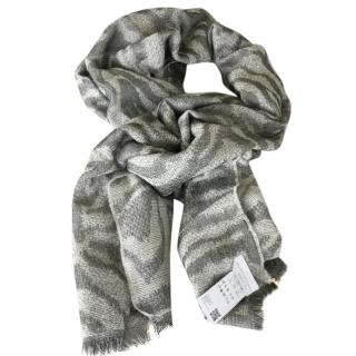 Hugo Boss animal print wool scarf