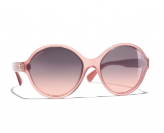 Chanel Transparent Pink Current Season Round Sunglasses