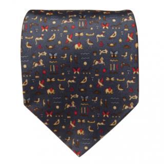 Salvatore Ferragamo blue animal design Silk Tie