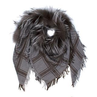 Gucci Monogram Shawl with Fur Trim