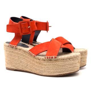 Celine Red Suede Criss-cross Espadrille Sandals