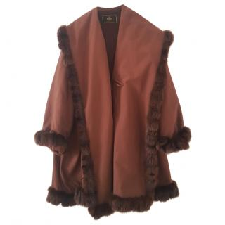 Fendi fur trimmed cape