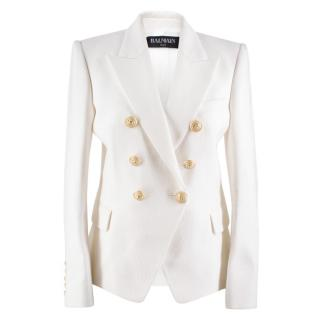 Balmain Double-breasted Cotton-pique Jacket