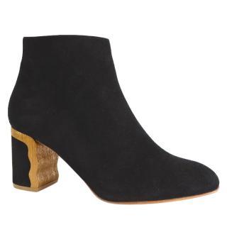 Rupert Sanderson Rozelle Black Suede Heel Ankle Boots