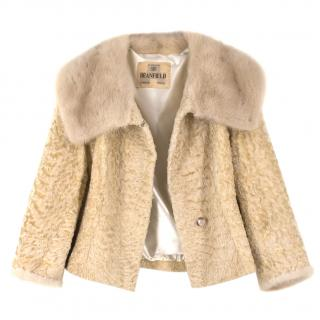 Deanfield Bespoke Astrakhan Cropped Jacket with Mink Fur Collar
