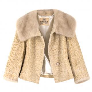 Deanfield Bespoke Astrakhan Cropped Jacket with Mink Fur Collar