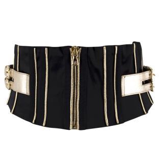 Dolce & Gabbana Black and Gold Satin Belt