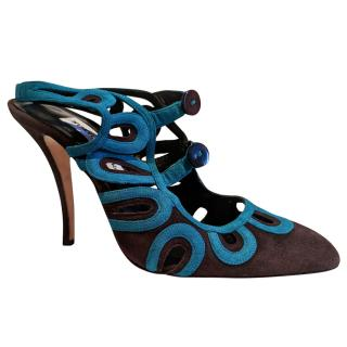 Manolo Blahnik Chocolate and Turquoise Sandals
