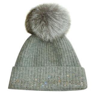 William Sharp Cashmere Swarovski Crystal Embellished Hat