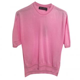 Versace pink cashmere and silk top