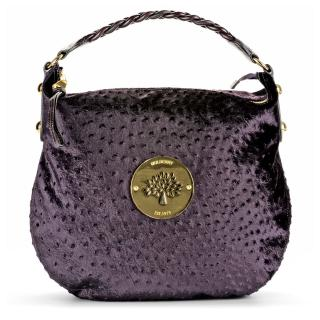Mulberry Velvet Ostrich Daria Hobo Bag