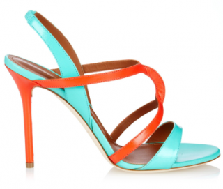 Malone Souliers Turquoise Ronnie Two-Tone Leather Sandals