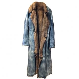 Sam Rone Denim & Mink Fur Reversible Coat