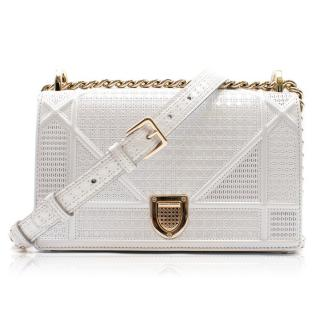 Christian Dior Pale Grey/Silver Micro Cannage Diorama Bag