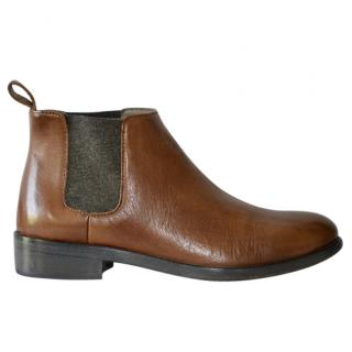 Brunello Cucinelli brown leather Chelsea boots