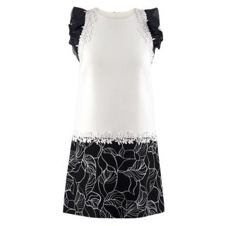 Giambattista Valli Monochrome Floral Embroidered Shift Dress