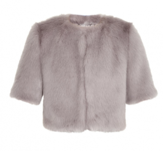 Shrimps Flint Cropped Grey & Blue Faux Fur Jacket