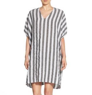 James Perse Estilo 100% linen white & charcoal stripe kaftan
