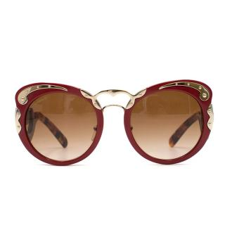 Prada Red Baroque Oversized Sunglasses