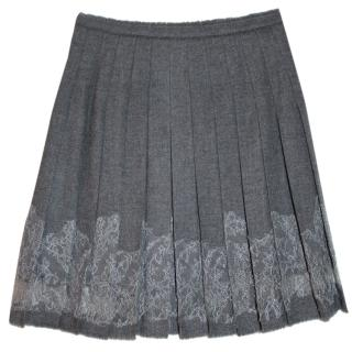 Ermanno Scervino Grey Wool & Lace Pleated Skirt