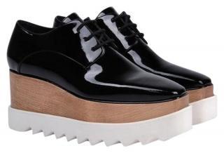 Stella McCartney Black Elyse Lace-up Patent Sneakers