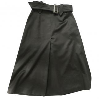 Max Mara A-line wool belted skirt