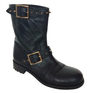 Jimmy Choo black & gold studded biker boots