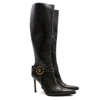 Versace Black Stiletto Knee High Boots