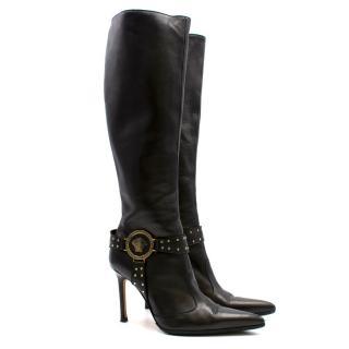 Versace Black Stiletto Knee High Boots