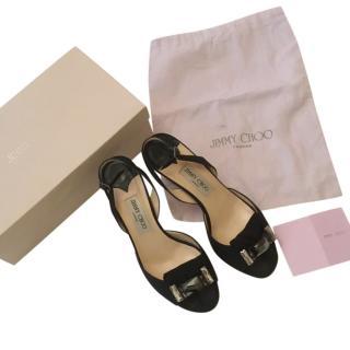 Jimmy Choo Crepe de Chine black sandals
