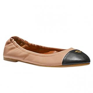 Coach Nude Pink and Black ballet pumps