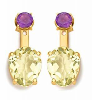 Missoma Gold Quartz & Amethyst Drop Jacket Earrings