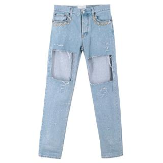 Forte Couture Chain Distressed Ripped Jeans