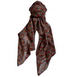 Saint Laurent floral print large wool scarf