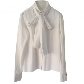 Chanel white pussy bow blouse