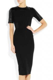 Victoria Beckham Black python trim stretch crepe dress
