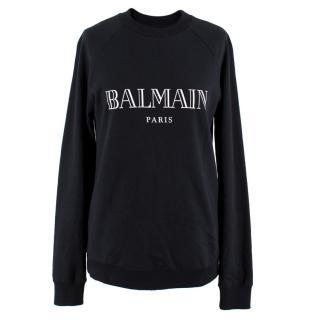 Balmain Black Logo-Print Sweatshirt
